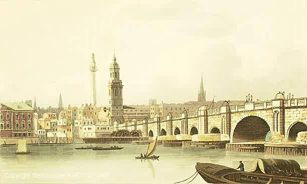 An eighteenth-century paiting of Old London Bridge showing the water wheel