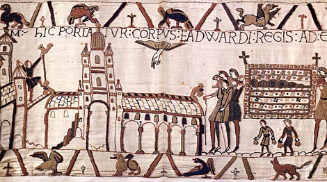 Edward the Confessor's body being brought to the abbey for burial in 1066