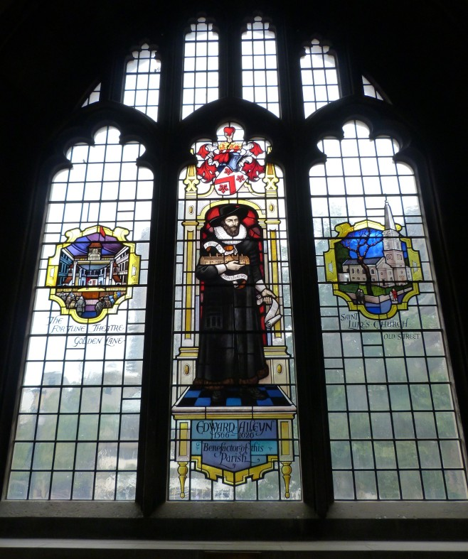 Edward Alleyn and Fortune Theatre windows, St Giles Cripplegate.JPG