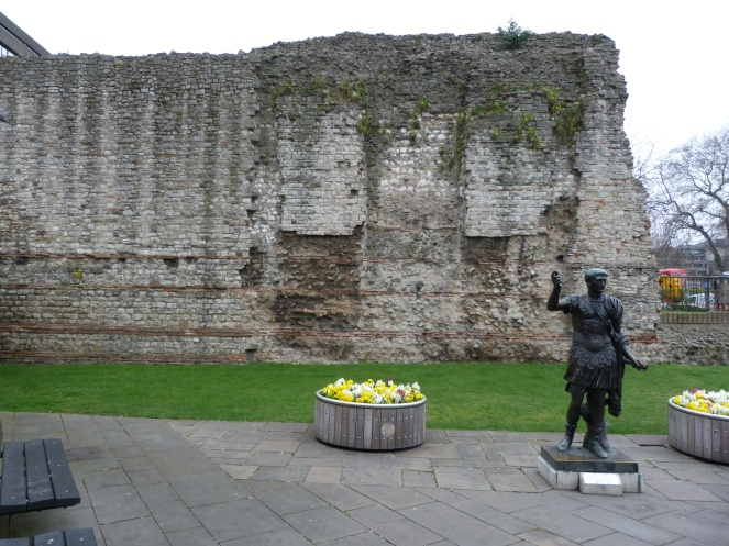 roman wall and statue of trajan, near tower - copy