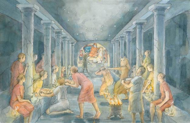 SMALL inside London's temple of Mithras, artist Judith Dobie (c) MOLA.jpg
