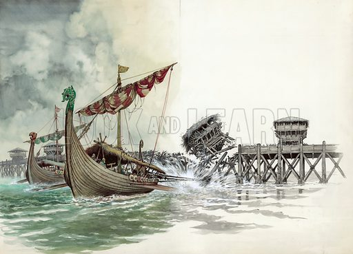 London Bridge being pulled down in the Viking attack led by Olaf The Norseman in 1014