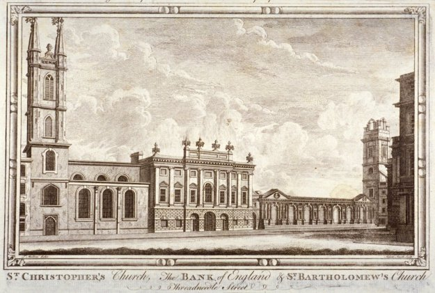 Bank of England, St Christopher-le-Stocks and St Bartholomew-by-the-Exchange, London, c1775.