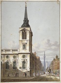 Church of St Benet Gracechurch and Gracechurch Street, City of London, 1811.