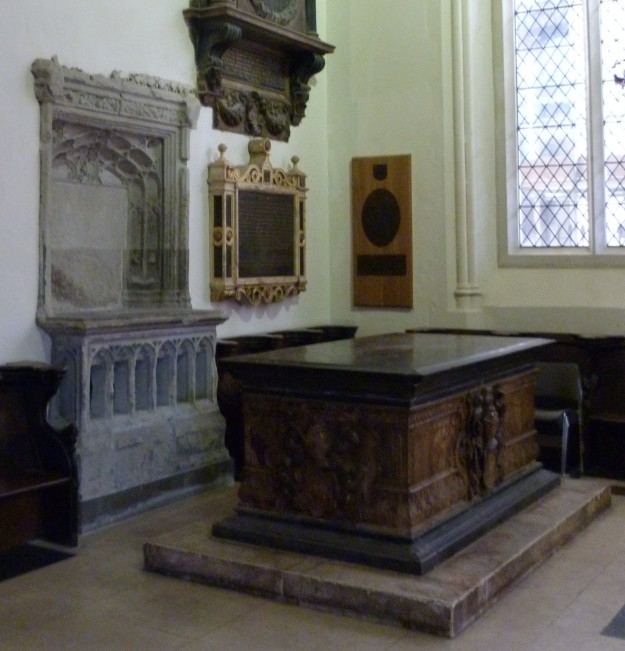 Gresham memorial, with nuns' squint to left