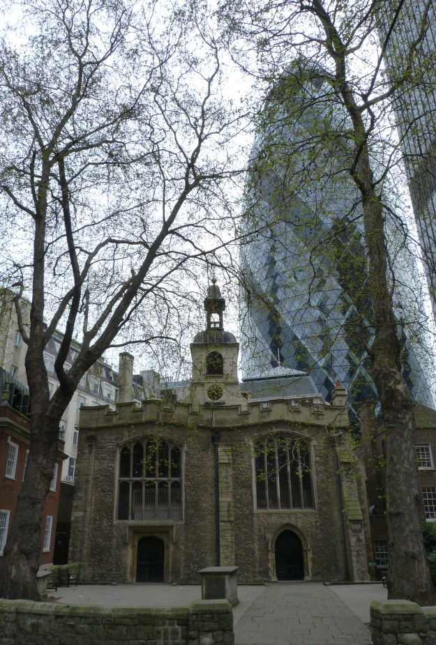 St Helen's Bishopsgate, with the Gherkin in the background