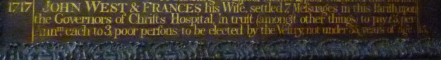 Close up of roll of benefactors (St Margaret Lothbury), showing John West's name